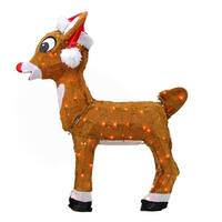"""26"""" Pre-Lit Rudolph the Red-Nosed Reindeer in Santa Hat Christmas Outdoor Decoration - Clear Lights - brown"""