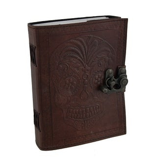 Leather Bound Day of the Dead Sugar Skull Journal with Metal Clasp - brown