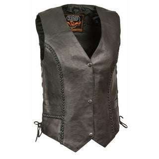 Womens Leather Braided Side Lace Vest