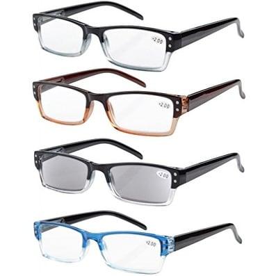Sun Readers 4-pack Spring Hinges Rectangular Reading Glasses+1.00