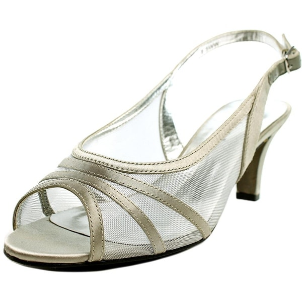 David Tate Pride Women WW Open-Toe Canvas Silver Slingback Heel
