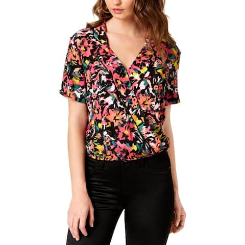Guess Womens Pullover Top Printed V-Neck