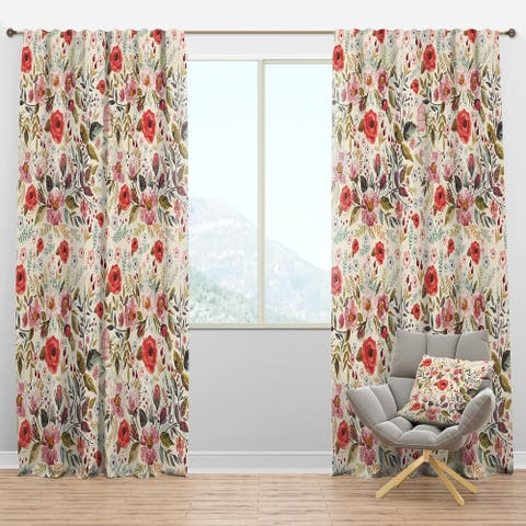 Designart 'Vintage Red Pink Flower and Leaves' Rustic Blackout Curtain Panel