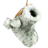 "3"" Winter's Beauty Gray and White Faux Fur Bootie Christmas Ornament with Fuzzy Ball Laces"