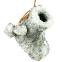 "3"" Gray and White Faux Fur Bootie Christmas Ornament with Fuzzy Ball Laces"