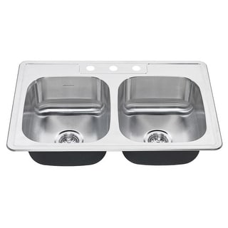 "American Standard 22DB.6332283S  Colony 33"" Double Basin Stainless Steel Kitchen Sink for Drop In Installations with Three"