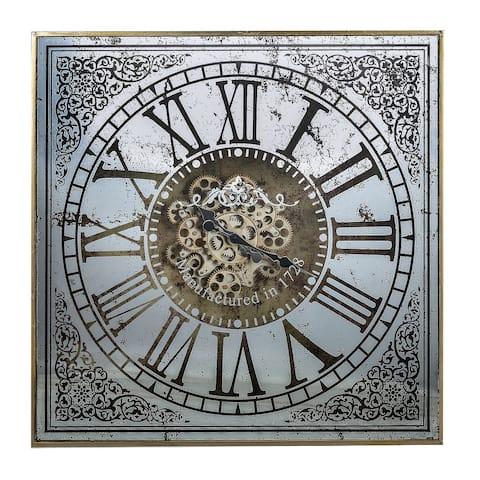 A&B Home Arria Randall Square Wall Clock - Antique Silver