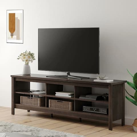 Farmhouse Wood TV Stand for 75 inch Flat Screen, TV console,70inch - 73 inches