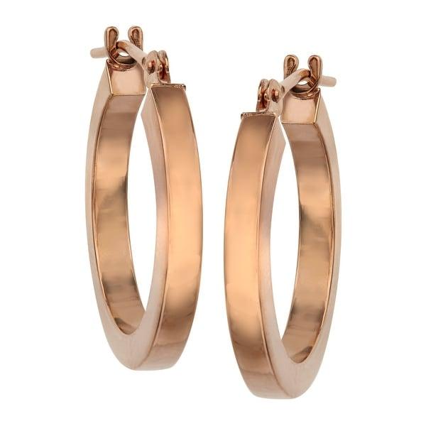 Eternity Gold Flat Hoop Earrings In 14k Rose Pink Free Shipping Today 13884993