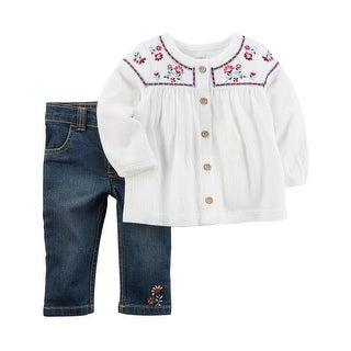 Carter's Baby Girls' 2 Piece Embroidered Tunic and Pants Set 9 Months