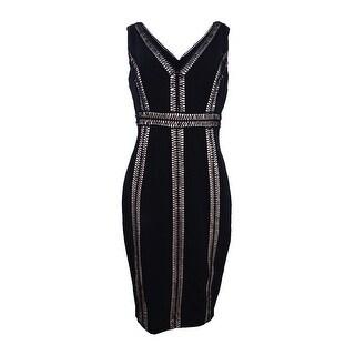 Jax Women's Crochet-Stripe Sheath Dress - Black