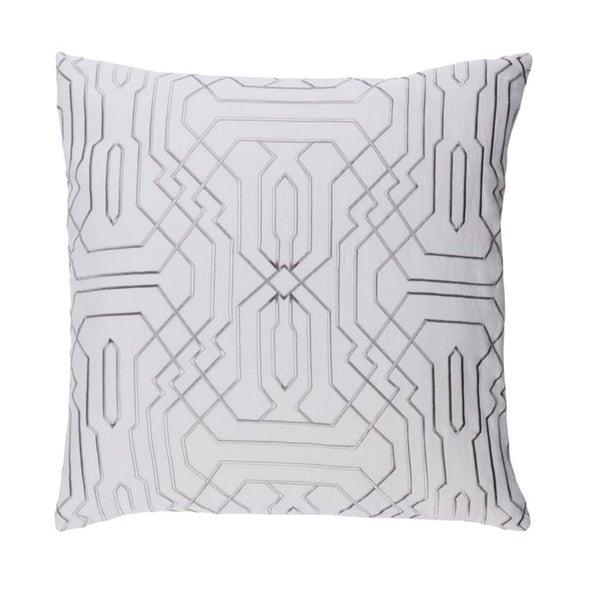 """18"""" Smoke Gray and Cream Chevron Decorative Throw Pillow - Down Filler"""