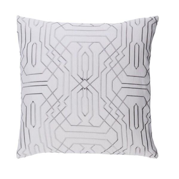 """22"""" Smoke Gray and Cream Chevron Decorative Throw Pillow - Down Filler"""
