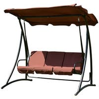 Costway 3 Person Swing Canopy Awning Hammock Steel Outdoor Patio Coffee