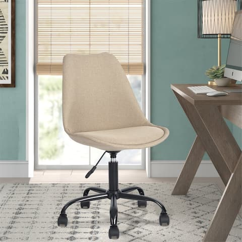 Porch & Den Stringer Beige Fabric Molded Armless Swivel Office Chair