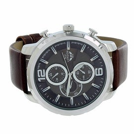 Mens NY London Watch Chronograph Analog Display Quartz Movement Cherry Brown Leather Band