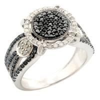Fabulous 0.88ct Black Natural Diamond With Real Diamond Designer Engagement Ring