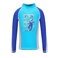 8717e7aa13 Sun Emporium Baby Boys Blue White Skater Boy Screen Print Rash Shirt - 6-12