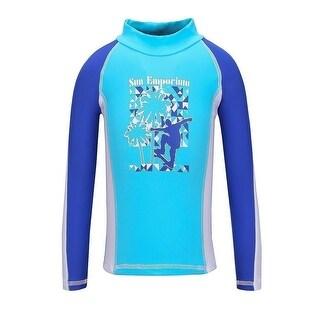 Sun Emporium Baby Boys Blue White Skater Boy Screen Print Rash Shirt
