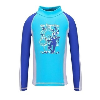Sun Emporium Little Boys Blue White Skater Boy Screen Print Rash Shirt