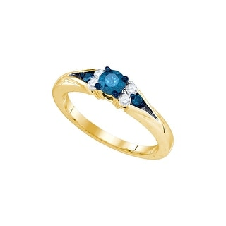10k Yellow Gold Blue Colored Round Natural Diamond Womens Fancy Bridal Wedding Engagement Ring 1/2 Cttw - White