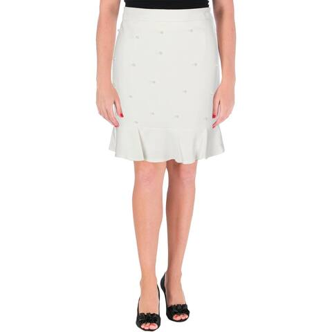 Aqua Womens Flounce Skirt Pearls Embellished
