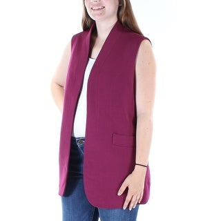 Womens Maroon Sleeveless Open Wear To Work Vest Top Size 12