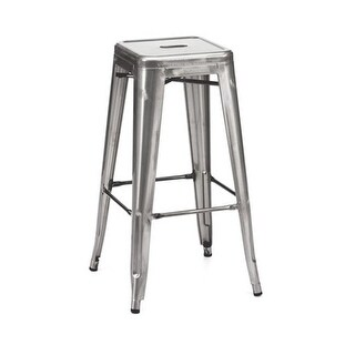 Amalfi Stackable Steel Barstool - Clear Gunmetal, Set Of 4