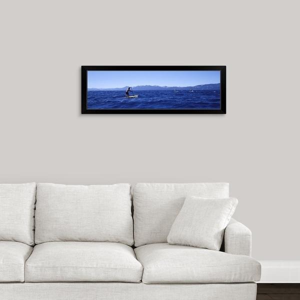 """Tourists paddle boarding in a lake, Lake Tahoe, California"" Black Framed Print"
