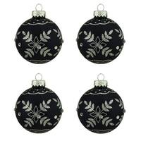 "4ct Matte Black with Silver Snowflake Design Glass Ball Christmas Ornaments 2.5"" (65mm)"
