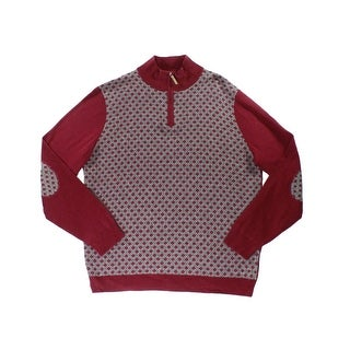 Tasso Elba NEW Red Mens Size Large L 1/2 Zip Elbow-Patch Printed Sweater