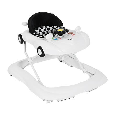 2-in-1 Foldable Baby Walker with Music Player & Lights-White - White