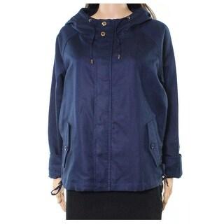 Lauren by Ralph Lauren NEW Blue Womens Large L Hooded Lace-Up Jacket