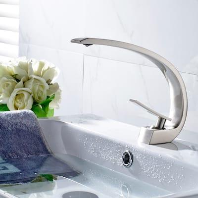 Single Handle Brass Bathroom Faucet in Brushed Nickel