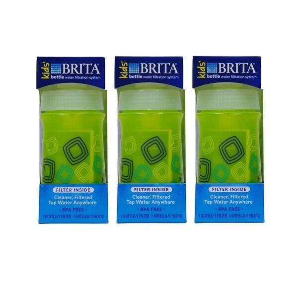 Brita Kids' Bottle Water Filtration System, Green (Pack of 3)