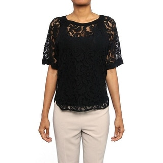 Maje Dingo Lace Kimono Sleeve Blouse Women Regular Blouse