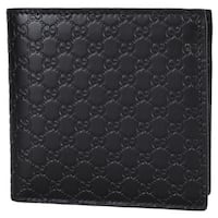 "Gucci Men's 150413 Black Leather Micro GG Guccissima W/Coin Bifold Wallet - 4.25"" x 4"""