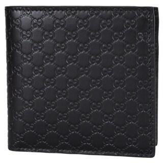 """Gucci Men's 150413 Black Leather Micro GG Guccissima W/Coin Bifold Wallet - 4.25"""" x 4"""""""