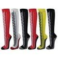Girls Kids Sneaker Lace-Up Pattern Premium Quality Cotton Knee High Socks - Thumbnail 0