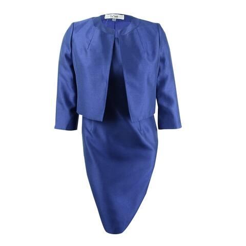 Le Suit Women's Shiny Flyaway Jacket & Dress Suit - Deep Night