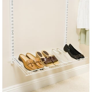 "Rubbermaid FG3H9403  24"" Wide Adjustable Wall Mounted Titanium Shoe Rack - White"