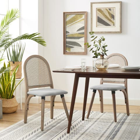 Linen Fabric Dining Chair with Rattan Back and Bamboo Frame