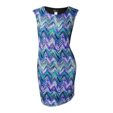 Connected Women's Chevron Textured Print Stretch Dress - Purple