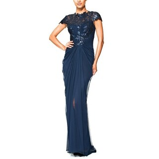 Tadashi Shoji Sequined Lace Draped Tulle Evening Gown Dress - 2