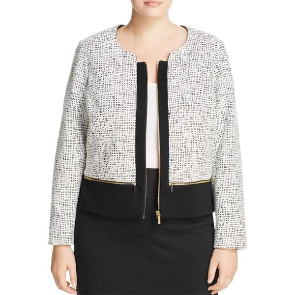 Calvin Klein Womens Plus Crop Blazer Scuba Textured