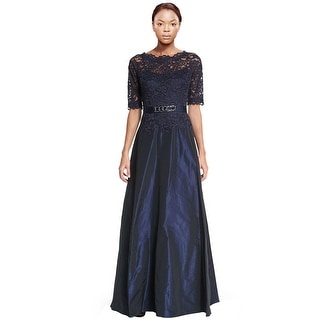 Teri Jon Scalloped Lace Top Taffeta Evening Gown Dress - 6