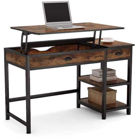 """Lift Top Computer Desk with Shelves and Drawer, 47"""" Standing Desk"""