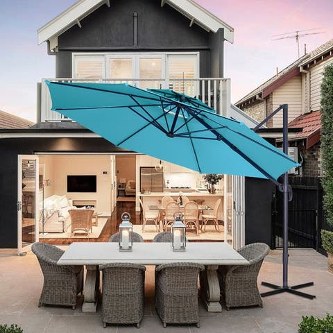 Ainfox 11ft Solar Patio Umbrella 360-Degree Outdoor Market Umbrella Inclined Waterproof Coffee Blue Red White