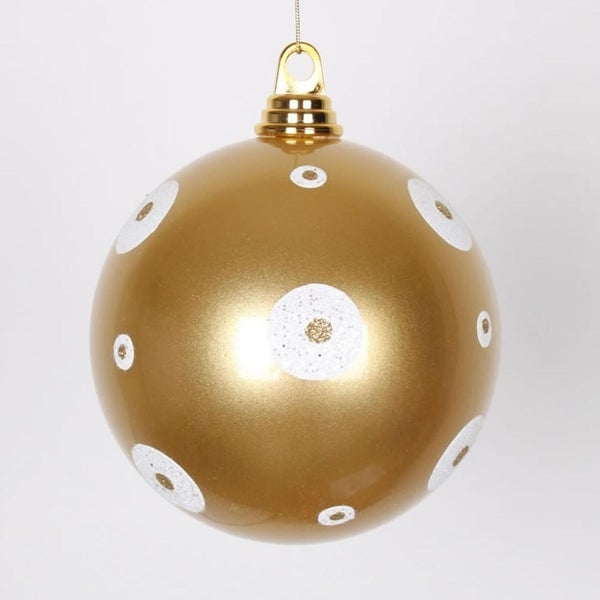 "Gold with White Glitter Polka Dots Christmas Ball Ornament 6"" (150mm)"