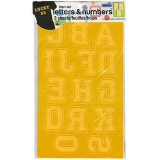 "Soft Flock Iron-On Letters & Numbers 1.75"" Collegiate-Gold - GOLD"